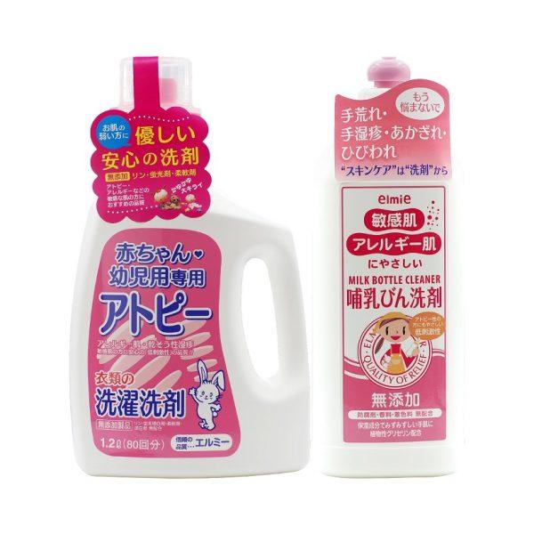 Combo nước giặt em bé + nước rửa bình sữa elmie