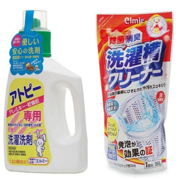Combo chai nước giặt quần áo người lớn Elmie 1,2L + túi nước vệ sinh lồng máy giặt Elmie 350ml