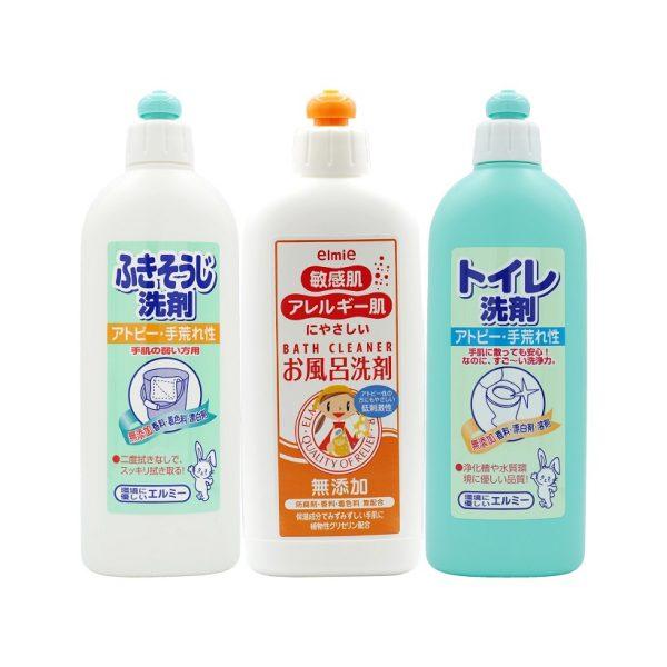 Combo nước lau sàn + nước tẩy rửa phòng tắm + nước tẩy bồn cầu dành cho da thường, da dị ứng Elmie
