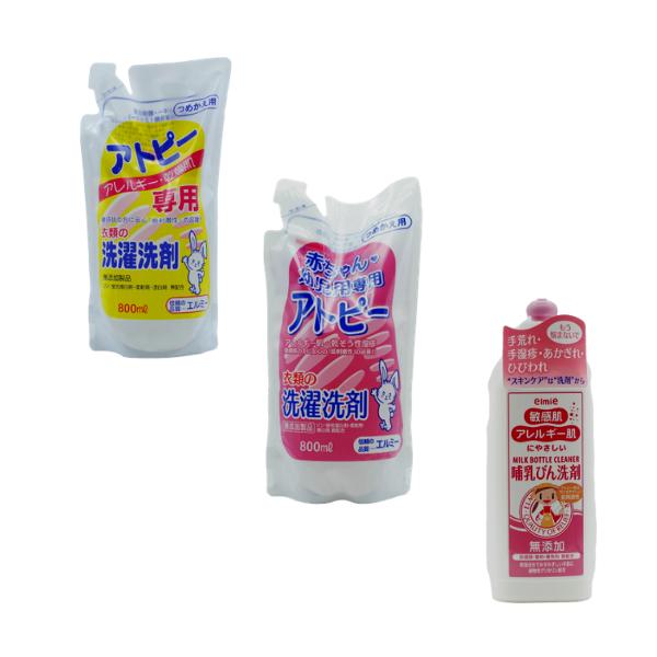 Combo ELMIE nước rửa bình sữa + Nước giặt quần áo người cho trẻ em + nước giặt quần áo cho da khô da nhạy cảm (Nhật)